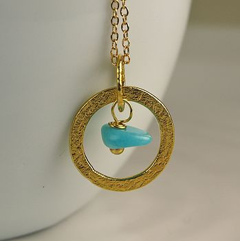 24k Gold Plated Hoop Necklace with Turquoise