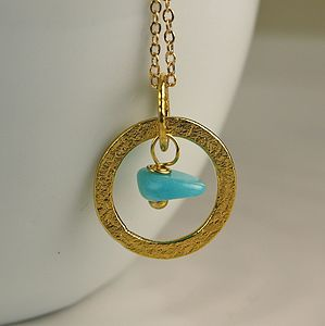 24K Gold Plated Hoop Necklace With Amazonite - necklaces & pendants