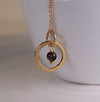 24k Gold Hoop Necklace With Garnet