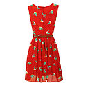 Parrot Print Dress Tomato Back View