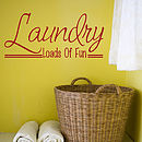 Laundry Room Wall Art Quote - Dark Red