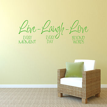 'Live Laugh Love' Wall Art Quote - Apple Green