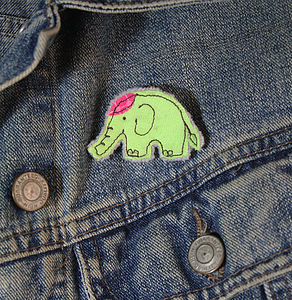 Embroidered Elephant Brooch