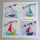 Pack Of Four Boat And Bunting Cards