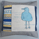 Printed Seagull Cushion with Yellow and Blue Panel
