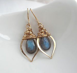 Labradorite Leaf Hoops - earrings