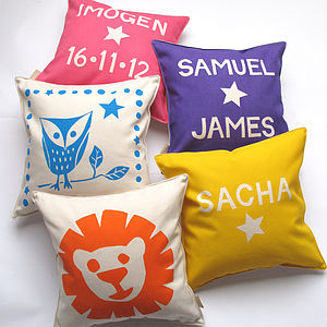Personalised Child's Birthday Cushion - baby's room