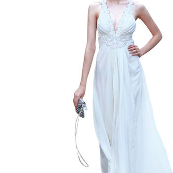 White A Line Evening Dress In Chiffon