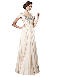 Elena In Cream V Neck Cap Sleeved Wedding Dress - wedding dresses