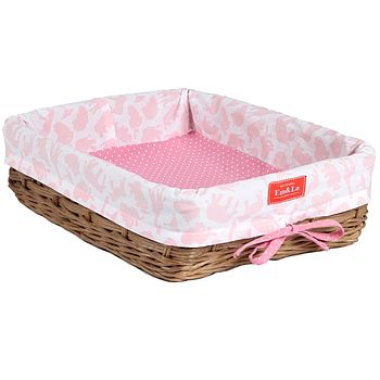 Safari Pink Shallow Wicker Tray