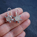 Sputnik Crackle Shard And Silver Earrings