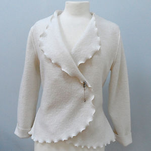 Frilled Wool Jacket - jackets & coats