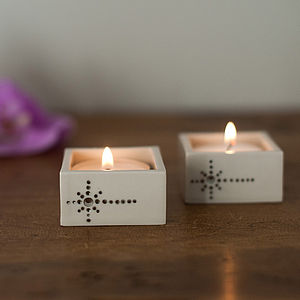 Silver Stars Ceramic Tealight Holder - candles & candlesticks
