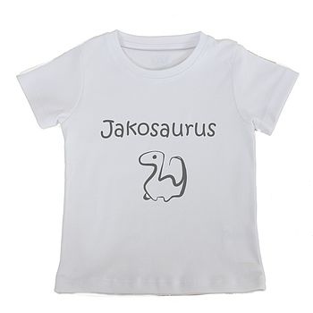 White Personalised 'Dinosaur' Short sleeved T shirt with grey printing