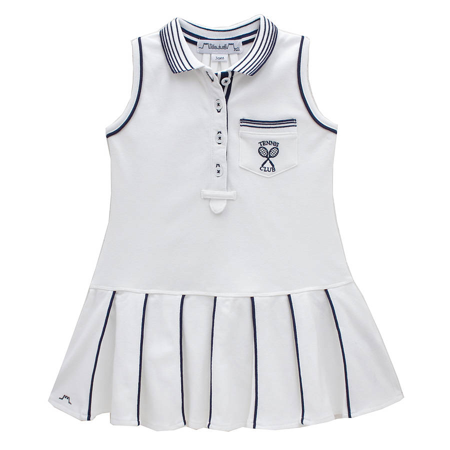 french girl's tennis dress with pleated skirt by chateau de sable ...