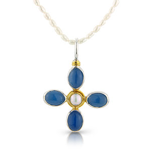 Chalcedony And Pearl Daisy Cross Pendant