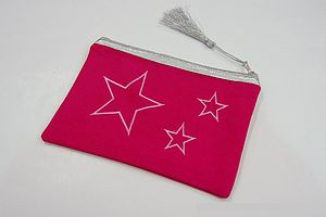 Star Embroidery Motif Cosmetic Bag - bathroom