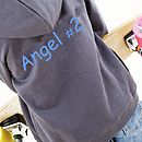 Grey Personalised Angel Hoodie with blue printing