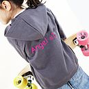 Grey Personalised Angel Hoodie with fuchsia printing