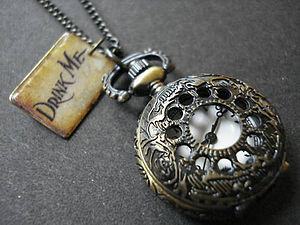 Drink Me Pocket Watch Necklace - watches