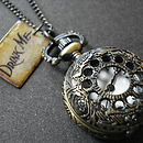 Drink Me Pocket Watch Necklace