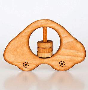 Organic Wooden Car Rattle - traditional toys & games