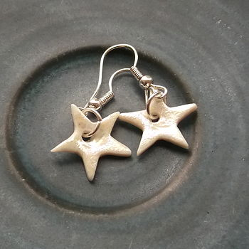 Handmade Porcelain Star Dangle Earrings