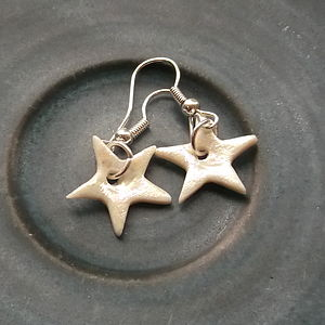 Handmade Porcelain Star Dangle Earrings - jewellery sale