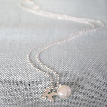 Freshwater Pearl And Silver Initial Necklace