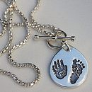 Thumb personalised hand footprint pendant chain