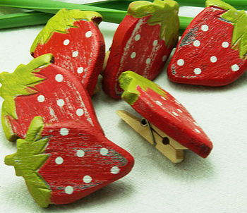 Set Of Six Strawberry Wooden Pegs