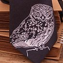 Little Owl On Charcoal Wool Tie
