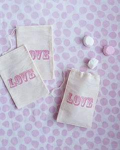 Three Hand Stamped 'Love' Gift Bags - favour bags, bottles & boxes