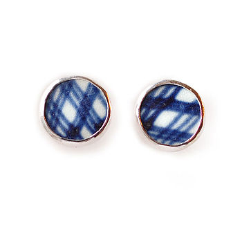 Tartan Pottery Shard Stud Earrings