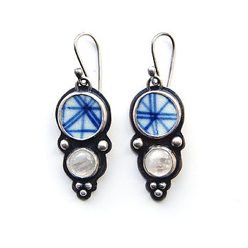 Pottery Shard And Moonstone Earrings