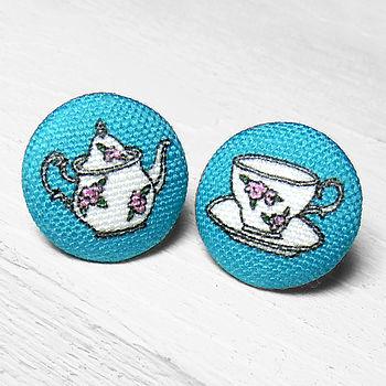 Tea Fabric Covered Earrings