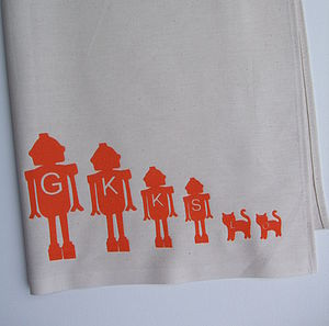 Personalised Tea Towel With Robot Family - kitchen