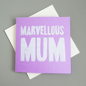 'Marvellous Mum' Hand Printed Card
