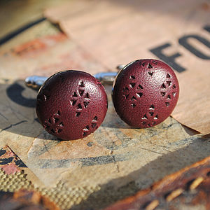 Diamond Lazer Cut Leather Cufflinks
