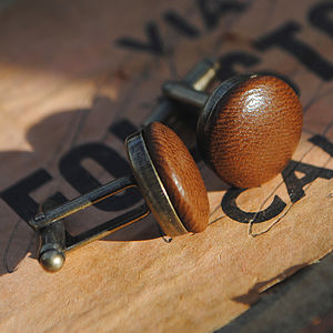 Vintage Style Leather Cufflinks - cufflinks