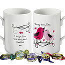 Personalised Love Birds Mug And Chocolates