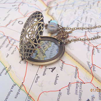 Personalised Location Map Locket Necklace