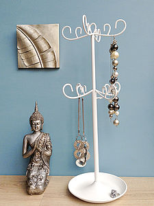 Jewelscope Jewellery Stand In White Or Silver - jewellery storage