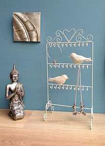 Cream Bird Jewellery Stand - jewellery storage