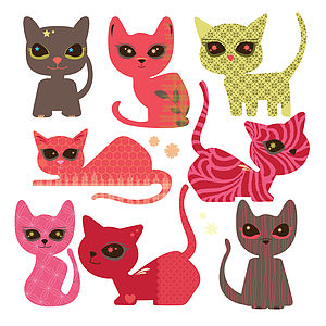 Set Of Eight Patterned Cats Wall Stickers