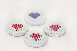 Cross Stitch Heart Pin Badge - women's jewellery