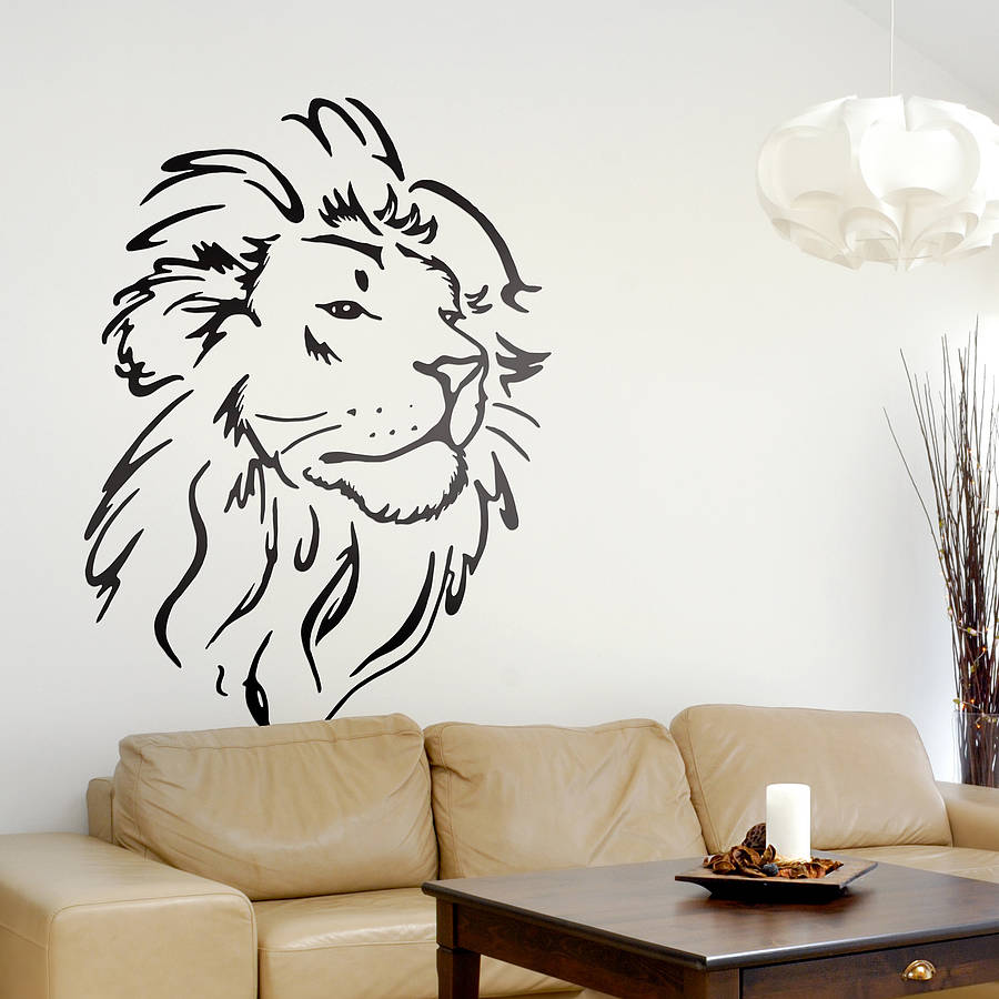 lion head wall sticker by oakdene designs. Black Bedroom Furniture Sets. Home Design Ideas