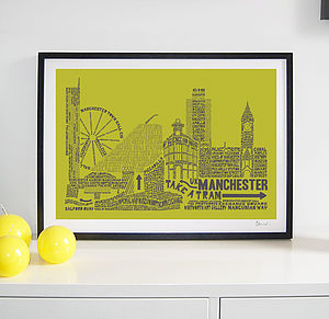 Manchester Skyline Typography Print - home accessories