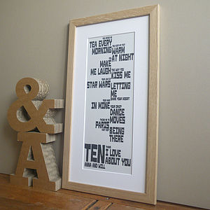Top Tens Typographic Print