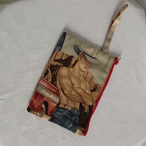 Cowboy Print Coin Purse Or Make Up Bag
